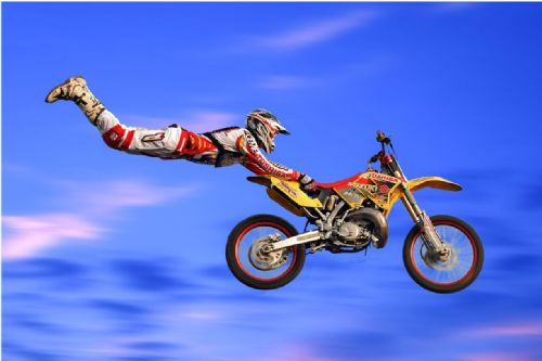 Motocross Extreme Sports  Canvas Framed Wall Art -16
